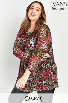 Evans Curve Pink Floral Mesh Tunic