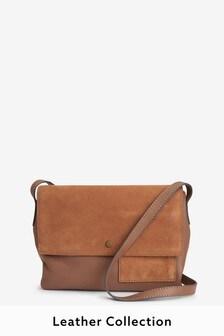 Leather Pocket Detail Across-Body Bag