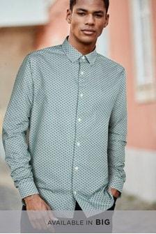 Long Sleeve Geo Print Shirt