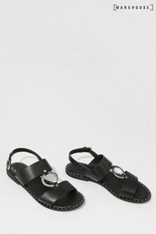 Warehouse Black Stud And Ring Sandal