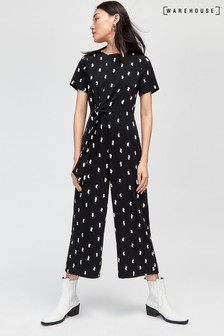 Warehouse Black Brushstroke Culotte Jumpsuit