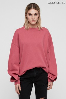 AllSaints Washed Pink Dino Dipped Hem Sweatshirt