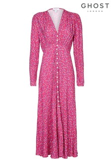 Ghost London Pink Birdie Printed Floral Button Through Dress