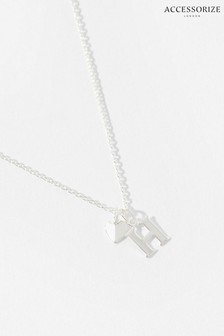 Accessorize Silver Sterling Silver Heart Initial Necklace - H