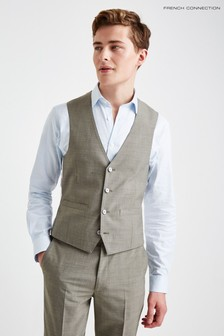 French Connection Slim Fit Sage Marl Waistcoat