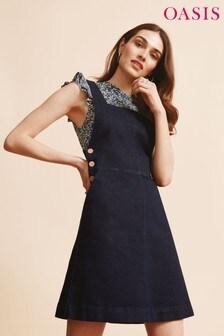 Oasis Blue Denim Dungaree Dress
