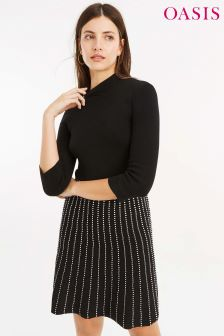 Oasis Black Dolly Line And Dot Dress