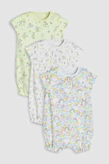 Delicate Rainbow Floral Rompers Three Pack (0mths-2yrs)