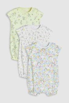 Strampelanzüge mit zartem Regenbogen- Blumenmuster im Dreierpack (0Monate bis 2Jahre)