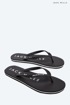 Jack Wills Black Newlands Flip Flop