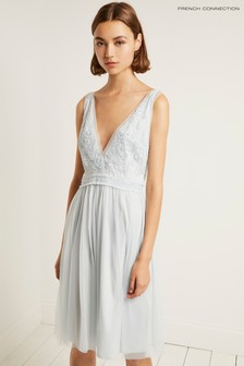 French Connection Blue Emelina Embellished V-Neck Dress