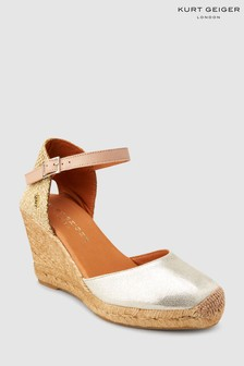 Kurt Geiger Gold Leather Monty Wedge