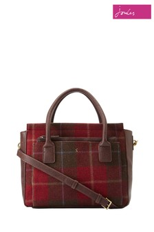 Joules Red Check Tweed Shoulder Bag