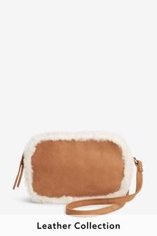 Leather Shearling Trim Camera Bag