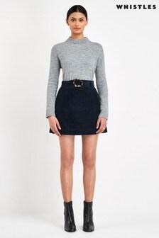 Whistles Navy Cord Resin Buckle Skirt