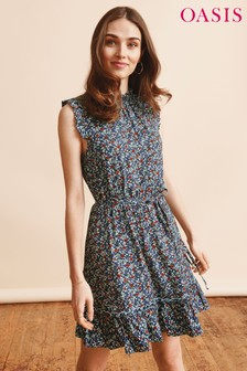 Oasis Multi Ditsy Ruffle Neck Dress