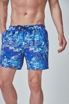 Marble Print Swim Shorts