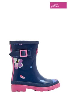 Joules Blue Floral Printed Welly