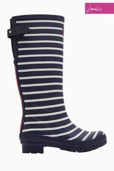 Joules Navy Stripe Print Welly