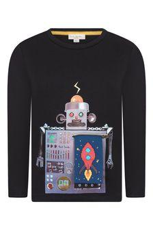 Paul Smith Junior Boys Black Robot Cotton T-Shirt