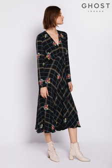 Ghost London Black Janince Printed Crepe Dress
