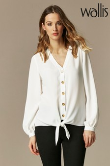 Wallis Ivory Tie Front Shirt