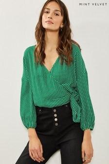 Mint Velvet Green Spotted Wrap Top