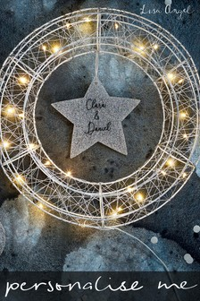 Personalised Silver LED Wire Wreath by Lisa Angel