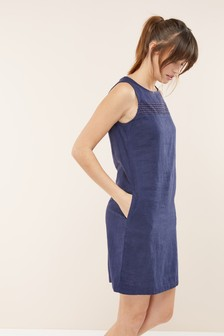 c8e02e6f6d54 Linen Blend Shift Dress