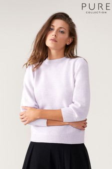 Pure Collection Purple Toccato Blouson 3/4 Sleeve Sweater