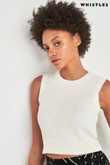 Whistles Ivory Waffle Knitted Top