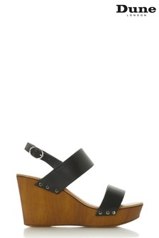 Dune London Black Wooden Platform Wedge