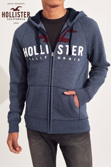 Hollister Navy Logo Zip Through Hoody