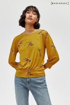Warehouse Sprig Floral Balloon Sleeve Top