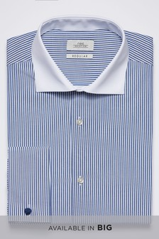 Regular Fit Easy Care Stripe Shirt With Contrast Collar