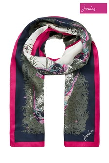 Joules Silver Louise Silk Scarf