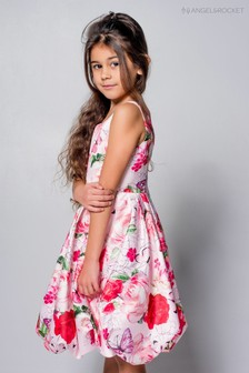 Angel & Rocket Pink Floral Puff Ball Dress