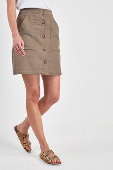 Button Linen Blend Mini Skirt
