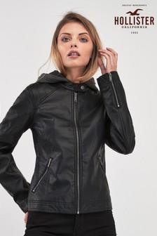 Черная кожаная байкерская куртка Hollister
