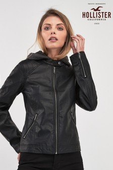 Hollister Black Leather Moto Jacket