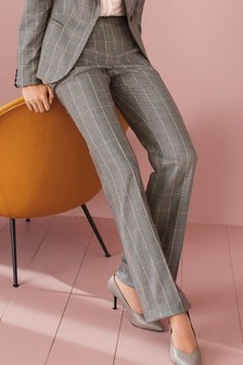Windowpane Check Boot Cut Trousers