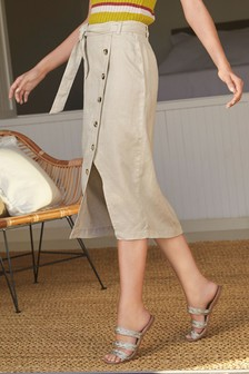Pure Linen Button Detail Skirt