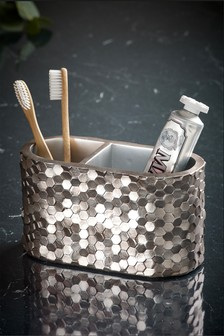Metallic Hexagonal Toothbrush Tidy