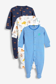 Jungle Animal Character Sleepsuits Three Pack (0mths-2yrs)