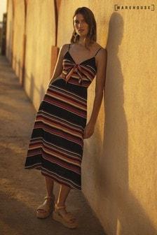 Czarna, długa sukienka w paski, z wiązaniem z przodu Warehouse