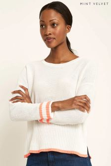Mint Velvet White Neon Tipped Cropped Knit