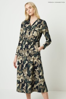 French Connection Green Camo Midi Shirt Dress