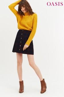 Oasis Multi Check Cord Skirt
