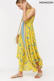 Monsoon Ladies Yellow Lorelle Maxi Dress