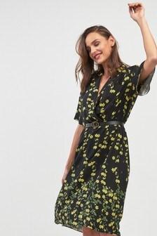 Floral Border Print Wrap Front Dress